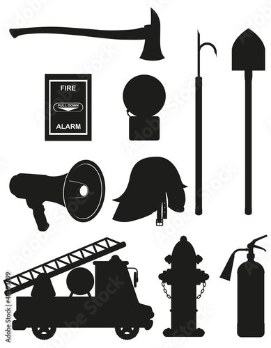 set icons of firefighting equipment black silhouette vector illu