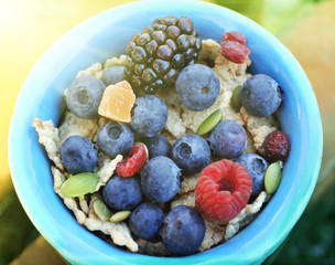 Fresh muesli with fruit