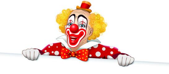 Clown sorridente con vestito a pois e cartello bianco