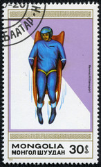 stamp printed by Mongolia, shows luge