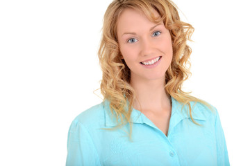 Blond woman with blue shirt