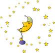 Mond mit Mütze und Sternen