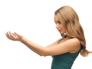 woman holding something on the palms
