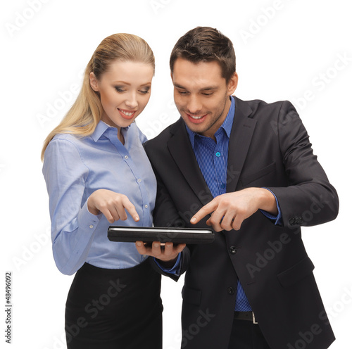 man and woman with tablet pc