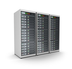 Server grid or render farm. Isolated on white.