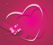 Hearts and ribbon with flower on the crimson background