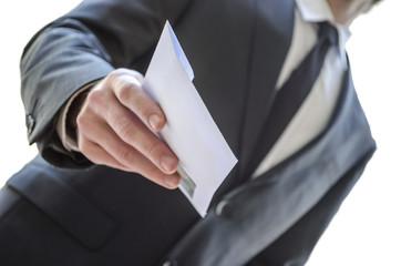 Man giving envelope