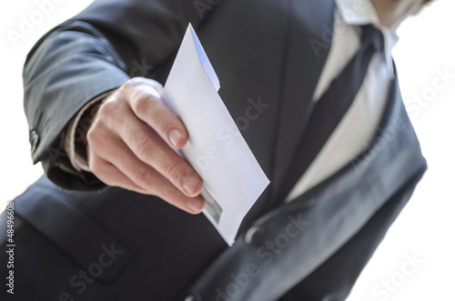 Man giving envelope