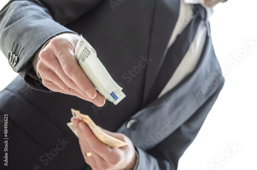 Man giving money