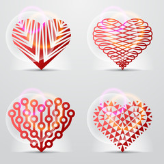 Creative collection of original heart symbols (icons, signs).
