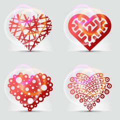 Stylized collection of original heart symbols (icons, signs).