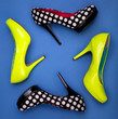Colorful high heels on blue background