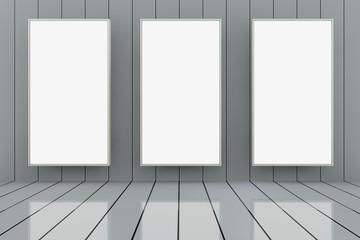 Room with 3 big empty frames - 3D render