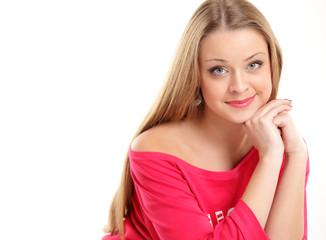 pretty woman happy smile, young attractive girl portrait