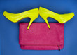 Neon high heels and a pink bag