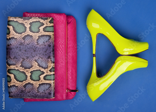 Colorful fashion accessories and neon high heels