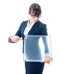Business woman holding blank panel