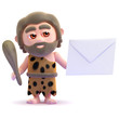 Caveman holds an envelope