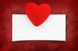 Greeting love card on red background