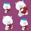 polar teddy bear valentine heart set