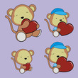 monkey valentine heart set