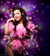 Sparking. Happy Woman Dancing - Fancy Dress Party. Disco Lights