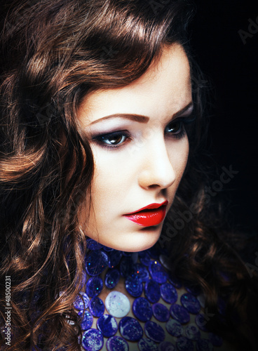 Charming Romantic Brunette Woman Closeup Portrait