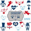 Valentine's Day Party set - photobooth props - glasses, hats, li