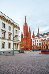 Marktkirche in Wiesbaden with Hesse parliament, Germany