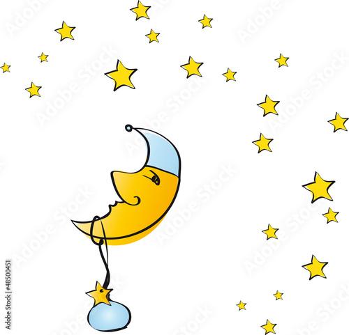 Mond mit hellblauer Mütze und Sternen - Junge