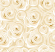 Seamless background with white roses and buds. Vector.