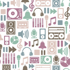 seamless pattern with music icons