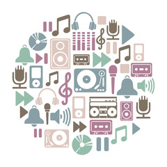 round card with music icons