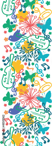 vector spring music symphony vertical seamless pattern