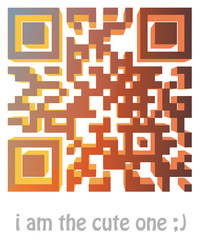 "qr code of ""i am the cute one ;)"""