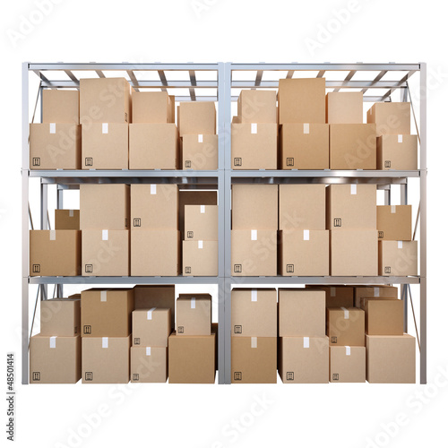 Metal stand with boxes isolated on white background