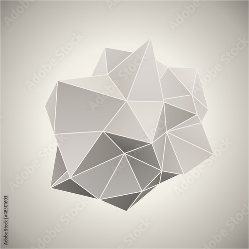 Abstract 3D form in vintage color vector illustration.