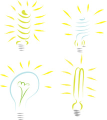 hand-drawn light bulbs