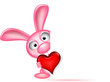 lovely rabbit holds love heart