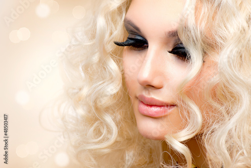Beautiful Girl with Curly Blond Hair