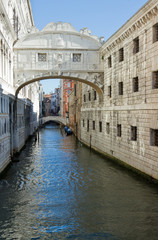 Famous Bridge of sighs in Venice.