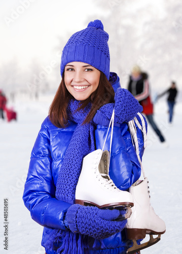 Girl with ice skate.