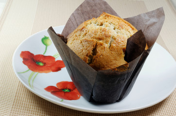 An individual freshly baked muffin