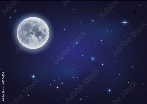 Mond und Sternenhimmel