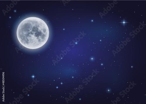 Fototapeta Mond und Sternenhimmel