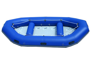 blue isolated inflatable boat