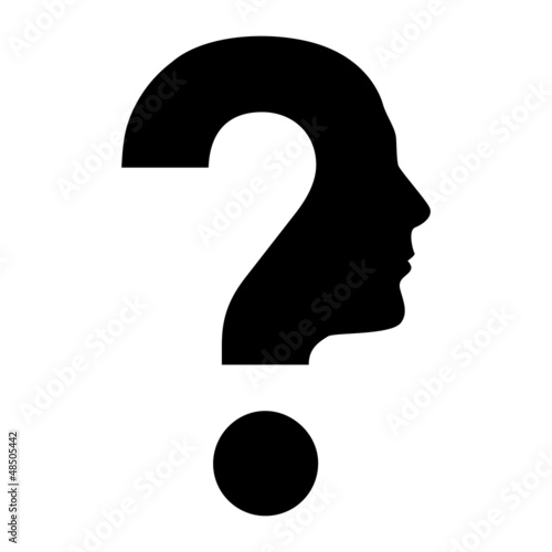 Human face  with question mark