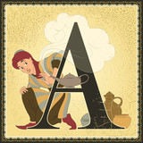 Children book alphabet. Letter A. Aladdin or the Wonderful Lamp