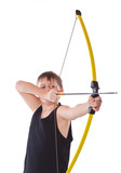 boy shoots a bow on a white background