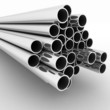 Metal pipes. 3d render  illustration  on the white  background